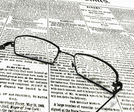 3dbbd8a5915 Eyeglasses on old newspaper. 3d illustration of eyeglasses on old newspaper  stock illustration