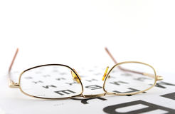 Eyeglasses on the ophthalmologic scale Royalty Free Stock Photography