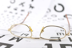 Eyeglasses on the ophthalmologic scales Stock Photo