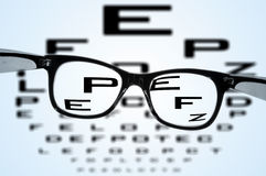 Eyeglasses. Over a blurry eye chart Stock Photography