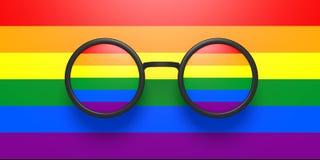 Eyeglasses round black with prescription lens, on a rainbow gay pride background, 3d illustration. Gay pride concept. Eyeglasses round black with prescription stock illustration