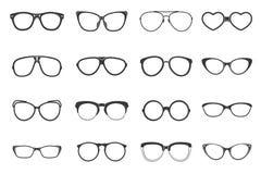 Eyeglasses Set Flat. Eyeglasses fashion accessory flat black icons set isolated vector illustration Stock Image