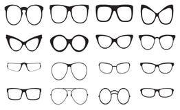 Eyeglasses silhouette set Royalty Free Stock Photos