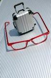 Eyeglasses and suitcase 5. Upright suitcase and eyeglasses stock photos