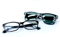 Eyeglasses and sunglasses Stock Photos