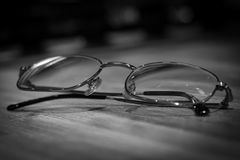 Eyeglasses on table