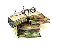 Eyeglasses on top stack books. And open book from a splash of watercolor, hand drawn sketch. Vector illustration of paints royalty free illustration