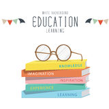 Eyeglasses on top stack books. Vector Illustration of eyeglasses on top stack books royalty free illustration