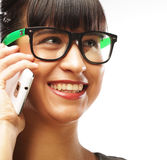 Eyeglasses Woman Using Phone Stock Photography