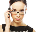 Eyeglasses Woman Using Phone Stock Photo