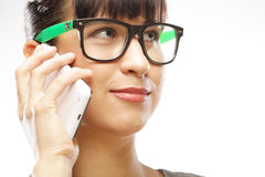 Eyeglasses Woman Using Phone Royalty Free Stock Image