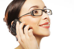 Eyeglasses Woman Using Phone Royalty Free Stock Photos
