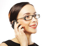 Eyeglasses Woman Using Phone Stock Images