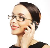 Eyeglasses Woman Using Phone Royalty Free Stock Photography