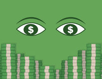 Eyeing Money Stacks Royalty Free Stock Images