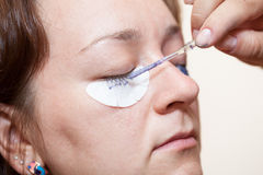 Eyelash dyeing with permanent makeup Stock Photo