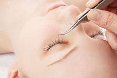 Eyelash extension Stock Photo