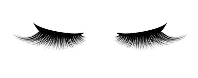 Eyelash extension. A beautiful make-up. Thick cilia. Mascara for volume and length. False Royalty Free Stock Image