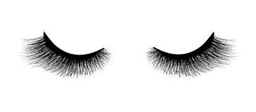 Eyelash extension. A beautiful make-up. Thick fuzzy cilia. Mascara for volume and length. False Stock Photos