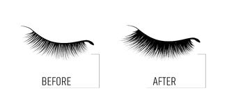 Eyelash extension. A beautiful make-up. Thick fuzzy cilia. Mascara for volume and length. Before and after the procedure. Cosmetic for the growth of eyelashes Stock Photos