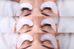 Eyelash Extension. Comparison of female eyes before and after. Stock Photography