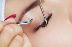 Beautiful Woman with long lashes in a beauty salon. Eyelash extension procedure. Beautiful Woman with long lashes in a beauty salon royalty free stock photography