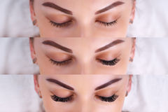 Eyelash Extension Procedure. Comparison of female eyes before and after. Comparison of female eyes before and after eyelash extension stock photo