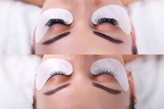 Eyelash Extension Procedure. Female eyes before and after. Royalty Free Stock Image