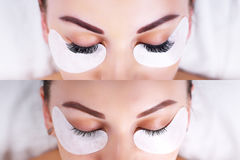 Eyelash Extension Procedure. Female eyes before and after. Stock Photo