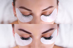 Eyelash Extension Procedure. Female eyes before and after. stock image