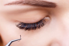 Eyelash Extension Procedure. Woman Eye with Long Eyelashes. Lashes, close up, macro, selective focus. Stock Photo
