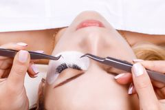 Eyelash Extension Procedure. Woman Eye with Long Eyelashes. Lashes, close up, macro, selective focus. Stock Images