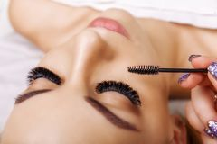 Eyelash Extension Procedure. Woman Eye with Long Eyelashes. Close up, selective focus. Hollywood, russian volume stock photography