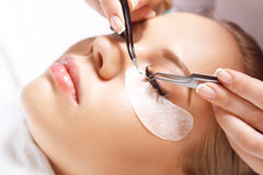 Eyelash Extension Procedure. Woman Eye with Long Eyelashes. Lashes, close up, selected focus. Stock Images