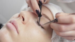 Eyelash extension process stock video footage