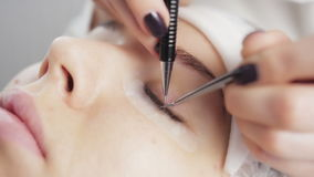 Eyelash extension process stock footage