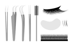 Eyelash extension. Set Professional tools tweezers. And brush. False cilia Stock Photo