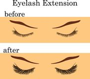 Eyelash extension before and after, vector illustration. Eyelash extension before and after effect, vector illustration Royalty Free Stock Photo