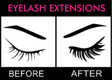 Eyelash Extentions. Eyelash Extensions Ticking up eyelashes Royalty Free Stock Photo