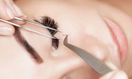 Eyelash removal procedure close up. Beautiful Woman with long lashes in a beauty salon Stock Images