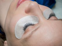 Eyelashes μετά από τη διαδικασία της επέκτασης στοκ φωτογραφία με δικαίωμα ελεύθερης χρήσης
