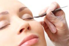 Eyelashes in the beauty salon. Royalty Free Stock Photography
