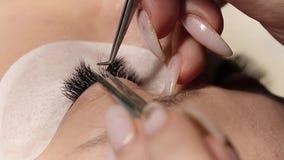 Eyelashes extensions. Fake eyelashes. Eyelash extension procedure.Close up portrait of woman eye with long eyelashes