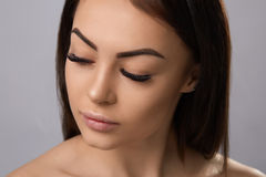 Eyelashes extensions. Fake Eyelashes. Stock Photography