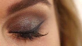 eyelashes Kosmetische Oogschaduw Sluit omhoog, Langzaam stock video