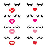 Eyelashes and lips  icons, pretty girl`s face, closed eyes and heart lips - beauty concept Royalty Free Stock Photo
