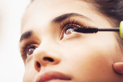 Eyelashes makeup. Latin woman black eyelash makeup Stock Photo