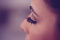 Eyelashes of a woman Stock Images