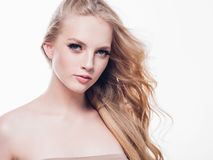 Eyelashes woman eyes face close up with beautiful long lashes is. Olated on white. Studio shot stock photography