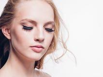 Eyelashes woman eyes face close up with beautiful long lashes is. Olated on white. Studio shot stock photos